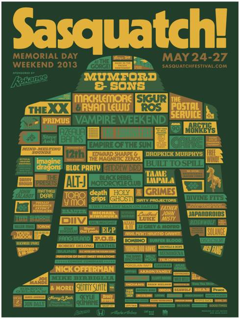 Sasquatch 2013 Line-Up
